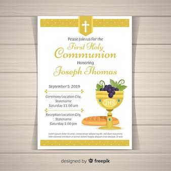 Płaski kielich i chleb pierwszej komunii zaproszenie