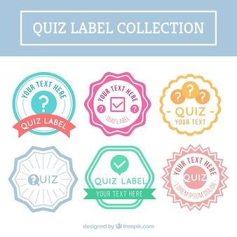 Płaski kolekcję etykiet quizu o różnych kolorach
