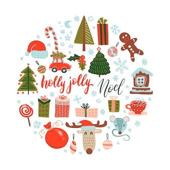 Płaski kolor doodle wektor boże narodzenie elementy projektu. ręcznie rysowane ilustracja prezent, kapelusz, jeleń, rękawiczki, płatki śniegu.