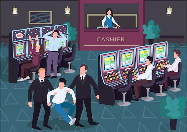 Płaski kolor kasyna. mężczyzna i kobieta grają w loterię. ochrona odchodzi przegrany z pustymi kieszeniami. postaci z kreskówek 2d gambler we wnętrzu z grupą ludzi na tle