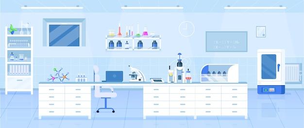 Płaski kolor laboratorium chemicznego. laboratorium naukowe, centrum badań farmaceutycznych projektowanie wnętrz z kreskówek 2d ze sprzętem medycznym na tle. wystrój nowoczesnej placówki medycznej