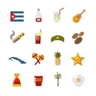 Płaski kolor na białym tle ikony kuby