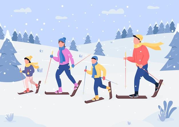 Płaski kolor na nartach rodzinnych. tradycyjna aktywność wakacyjna. szybowanie po śnieżnych wzgórzach. szczęśliwi członkowie rodziny postaci z kreskówek 2d z lasem pokrytym śniegiem na tle