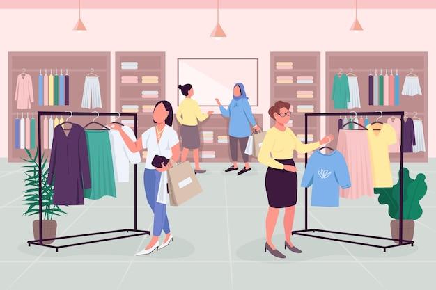 Płaski kolor napędu żeńskiego. nawyki zakupowe. butik gotowy do noszenia. podążając za trendami mody, postaci z kreskówek 2d bez twarzy z wnętrzem sklepu z ubraniami na tle