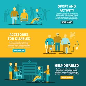 Płaski kolor niepełnosprawnych poziome banery