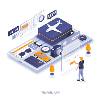 Płaski kolor nowoczesny izometryczny ilustracja - aplikacja podróżna