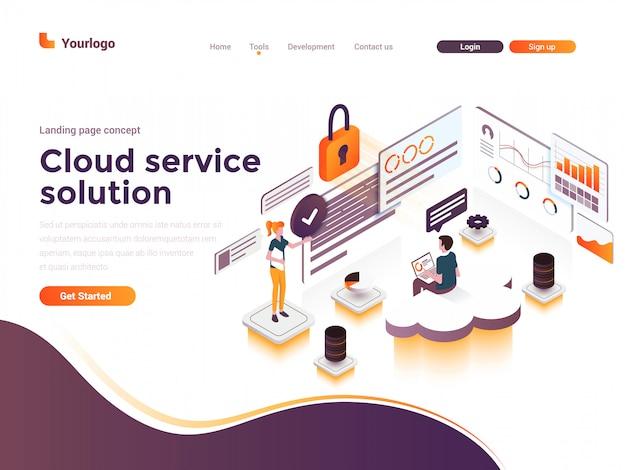 Płaski kolor nowoczesny izometryczny ilustracja koncepcja - usługa w chmurze