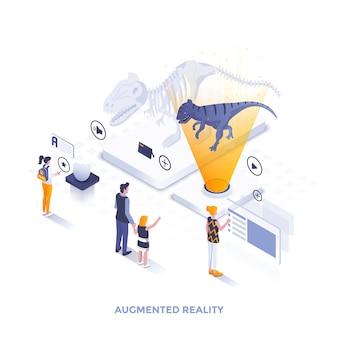 Płaski kolor nowoczesny izometryczny ilustracja - rzeczywistość rozszerzona