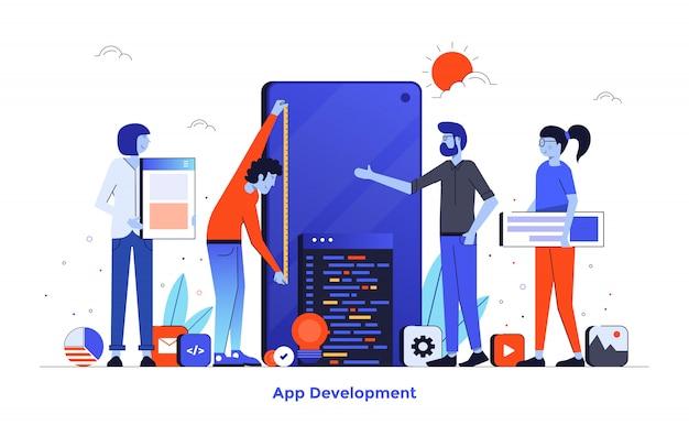 Płaski kolor nowoczesny projekt ilustracji - tworzenie aplikacji