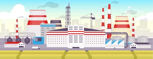 Płaski kolor parku przemysłowego. stacja energetyczna, strefowy obiekt krajobraz kreskówka 2d z pejzażem miejskim w tle. panorama stacji produkcji energii. miejska fabryka na zewnątrz