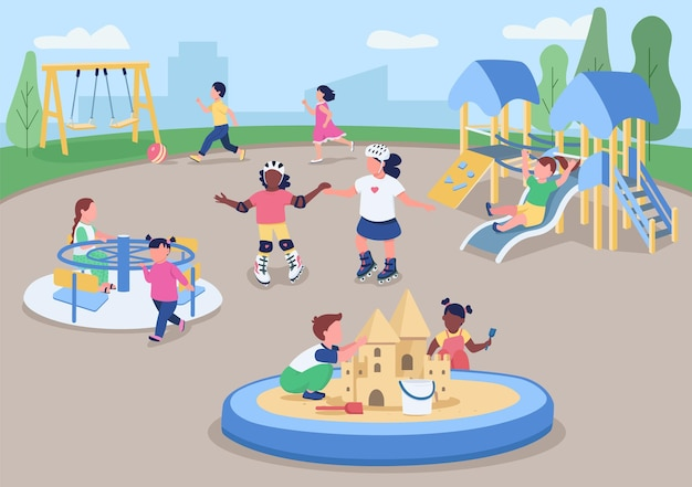 Płaski kolor plac zabaw na świeżym powietrzu. dzieci bawiące się na zewnątrz. przedszkolaki bawiące się razem. postacie z kreskówek 2d w przedszkolu z miejskim krajobrazem .