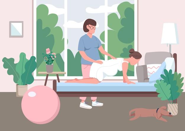 Płaski kolor położnictwa. profesjonalny przewodnik doula. opieka prenatalna nad kobietą. alternatywny poród w domu. ciężarna postać z kreskówki 2d z asystentem na tle