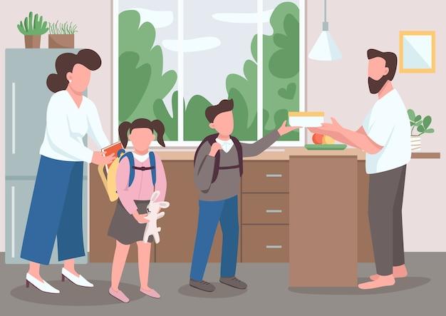 Płaski kolor rodzicielstwa. rodzice pomagają dzieciom przygotować się do szkoły. tata wypuszcza syna. mama pomaga córce. rodzinne rutynowe postaci z kreskówek 2d z wnętrzem w tle