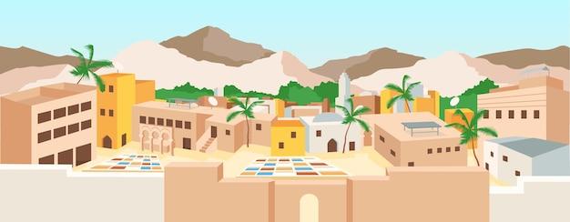 Płaski kolor tunezyjskiej medyny. stare miasto w tunezji i zabytki. letnie wakacje w afryce. tradycyjna architektura arabska 2d kreskówka krajobraz z górami na tle