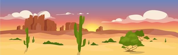 Płaski kolor zachodniej pustyni. cel podróży na pustkowia. sceneria pustyni. dziki zachód kreskówka krajobraz 2d z kaktusami, kanionami i niebem zachodzącego słońca na tle