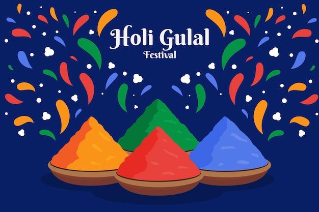 Płaski kolorowy gulal holi ze stosem kolorów