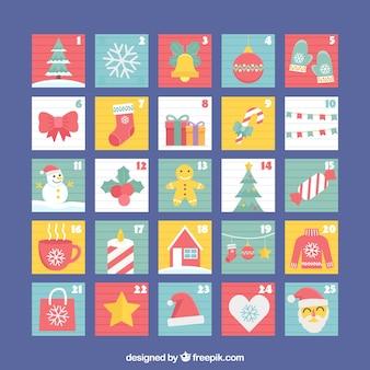 Płaski kolorowy kalendarz adwentowy