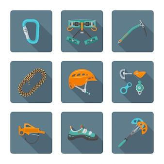 Płaski kolorowy kolekcja różnych ikon narzędzia alpinizmu