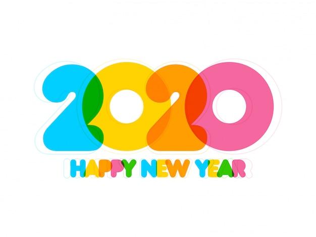 Płaski kolorowy kolorowy szczęśliwego nowego roku 2020