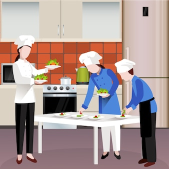 Płaski kolorowy kompozycja ludzi gotowania