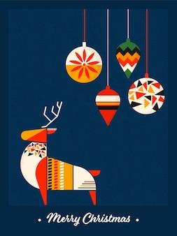 Płaski kolorowy kreatywny renifer z wiszącymi latarniami