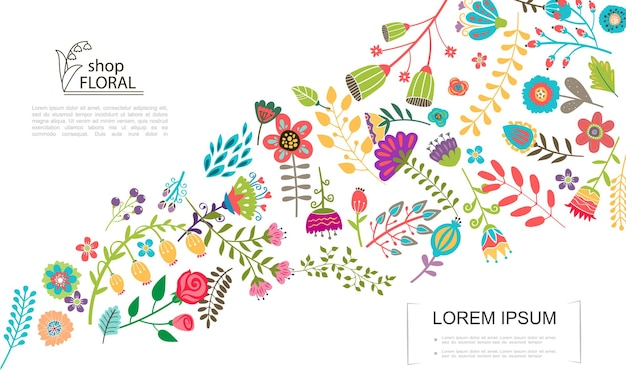 Płaski kolorowy kwiatowy szablon z różnymi pięknymi letnimi i wiosennymi kwiatami ilustracja