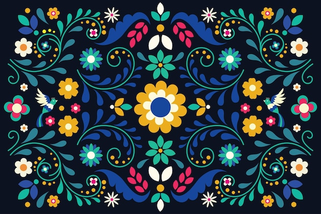 Płaski kolorowy meksykański tło