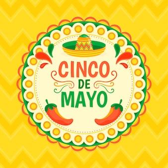 Płaski kolorowy motyw cinco de mayo