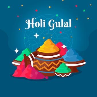 Płaski kolorowy motyw świąteczny holi gulal