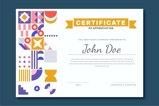 Płaski kolorowy nowoczesny certyfikat