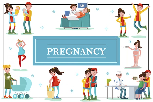 Płaski kolorowy szablon ciąży z szczęśliwymi troskliwymi ojcami i kobietami w ciąży w różnych sytuacjach podczas ciąży do porodu