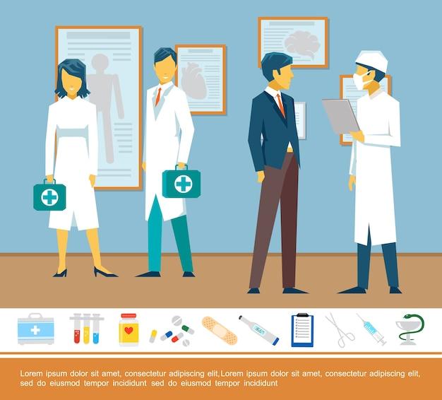 Płaski kolorowy szablon opieki zdrowotnej