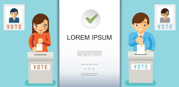 Płaski kolorowy szablon procesu głosowania, w którym ludzie umieszczają papierowe karty do głosowania w różnych polach wyborczych