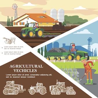 Płaski kolorowy szablon rolniczy z rolnikami zbierającymi plony i transportującymi ziemię za pomocą pojazdów rolniczych