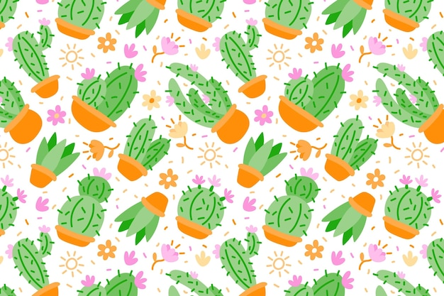 Płaski kolorowy wzór kaktusa