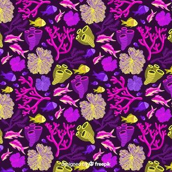 Płaski kolorowy wzór koral i ryby
