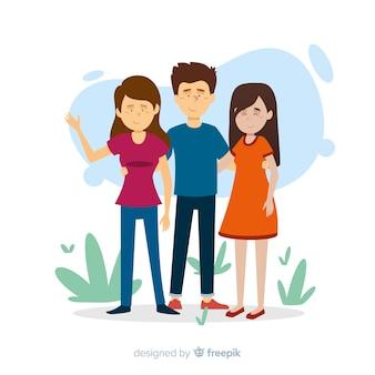 Płaski kontakt ilustracja koncepcja