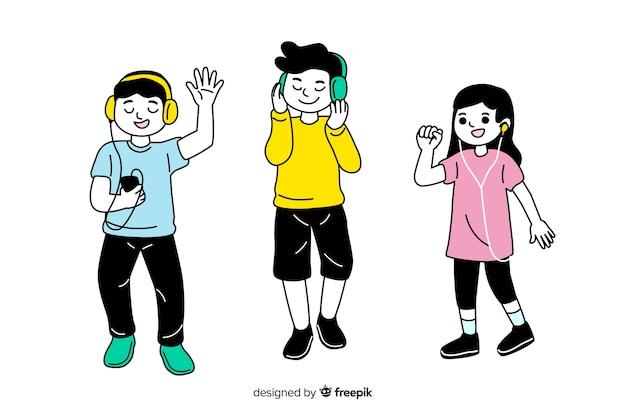 Płaski koreański styl rysowania młodych postaci słuchających muzyki