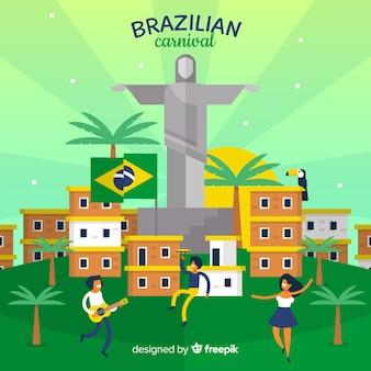 Płaski krajobraz brazylijski karnawał tło