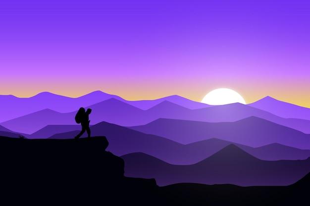 Płaski krajobraz charakter gór zachodzi słońce