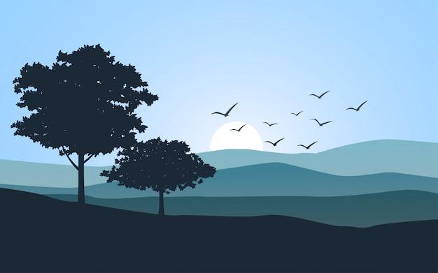Płaski Krajobraz Drzewa Z Wschodem Słońca Premium Wektorów