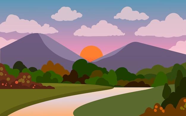 Płaski krajobraz górski i leśny