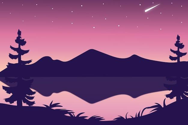 Płaski krajobraz jeziora po południu przy fioletowym słońcu