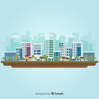 Płaski krajobraz miejski z budynków biurowych