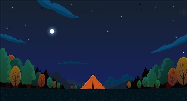 Płaski krajobraz obszaru kempingowego z namiotami w nocy