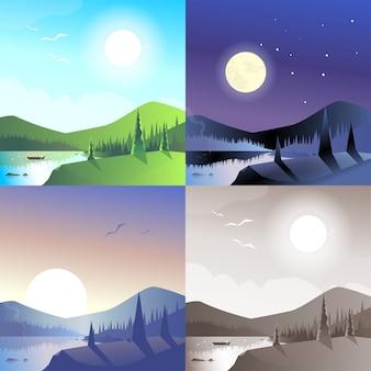 Płaski krajobraz pagórkowaty góry dziki las jezioro łódź scena zestaw. stylowa kolekcja outdoor natura banner www. światło dzienne, nocne światło księżyca, widok zachodu słońca, sepia w stylu retro vintage.