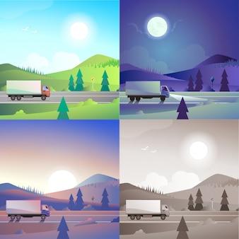 Płaski krajobraz pagórkowaty góry wsi droga dostawa ciężarówka transport scena zestaw. stylowa kolekcja outdoor natura banner www. światło dzienne, nocne światło księżyca, widok zachodu słońca, sepia w stylu retro vintage.