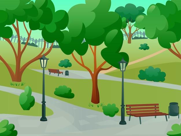 Płaski krajobraz parkowy