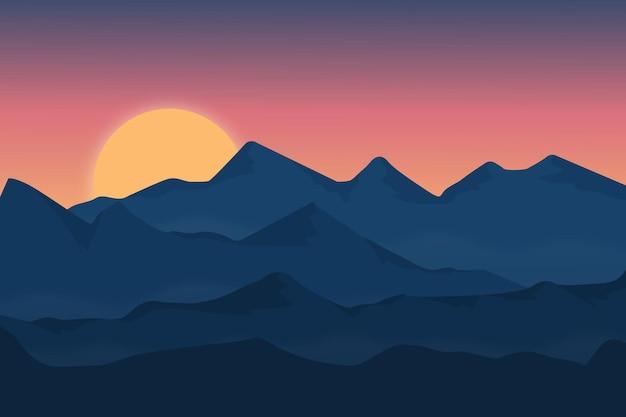 Płaski krajobraz piękna górska natura z gęstą mgłą