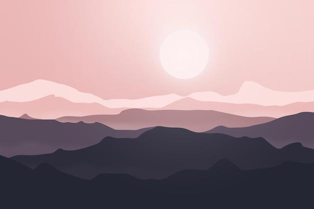 Płaski krajobraz piękne góry rano z jasnym światłem